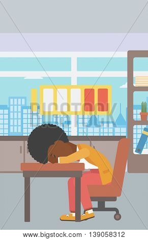 An african-american woman sleeping at workplace on laptop keyboard and low power battery sign over her head. Business woman sleeping in office. Vector flat design illustration. Vertical layout.