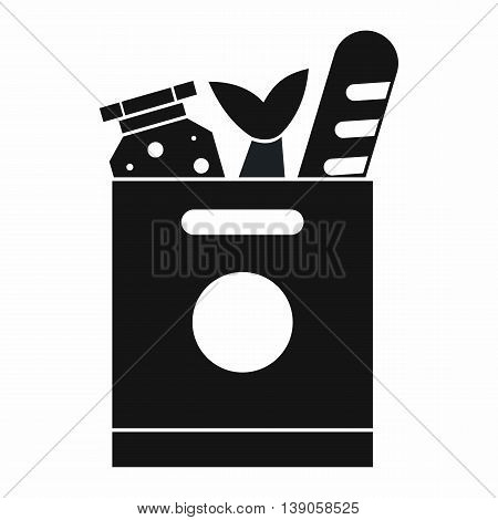 Grocery bag with food icon in simple style isolated vector illustration