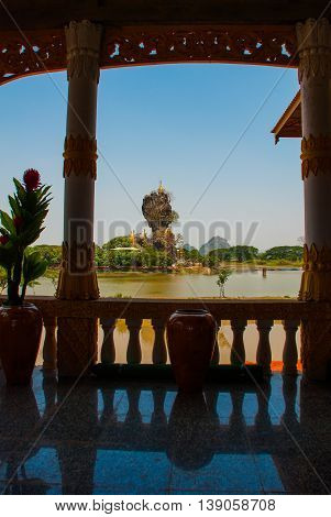 Kyauk Kalat Pagoda. Mawlamyine, Hha-an. Myanmar. Burma. Small Pagodas Have Been Erected On A Steep R
