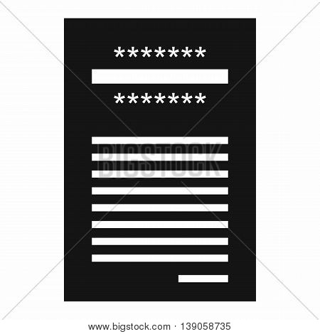 Sales printed receipt icon in simple style isolated vector illustration