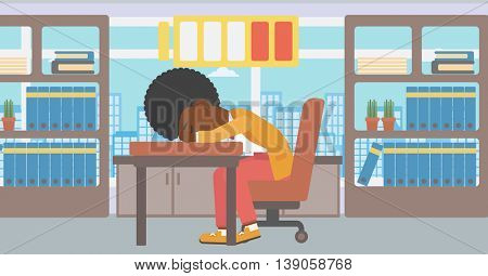 An african-american woman sleeping at workplace on laptop keyboard and low power battery sign over her head. Business woman sleeping in office. Vector flat design illustration. Horizontal layout.
