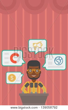 An african-american speaker standing at podium with microphones at business conference. Speaker giving speech at podium and speech squares around him. Vector flat design illustration. Vertical layout.