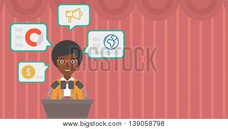 African-american speaker standing on podium with microphones at business conference. Woman giving speech at podium and speech squares around her. Vector flat design illustration. Hhorizontal layout.
