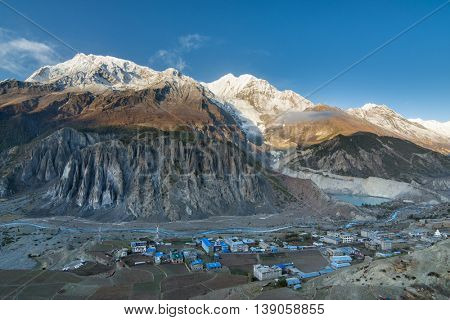View of Manang valley and Annapurna mountains range. Annapurna circuit trek, Nepal