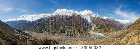 Panoramic view of Manang valley and Annapurna mountains range. Annapurna circuit trek, Nepal
