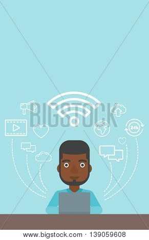 An african-american man working on a laptop and social computer network icons above him. Vector flat design illustration. Vertical layout.