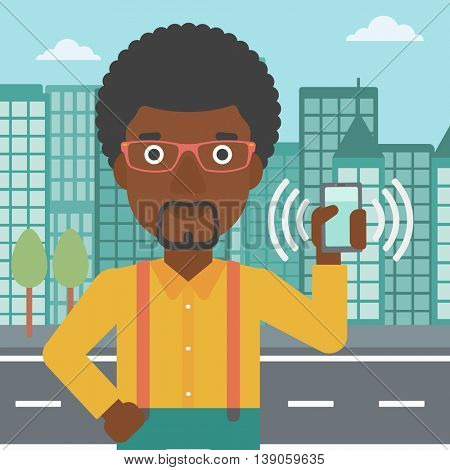 An african-american man holding ringing mobile phone on a city background. Man answering a phone call. Man with ringing phone in hand. Vector flat design illustration. Square layout.