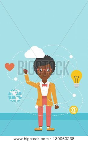 An african-american woman writing on a virtual screen. Business woman drawing a cloud computing diagram on a virtual screen. Cloud computing concept. Vector flat design illustration. Vertical layout.