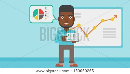 An african-american businessman pointing at the charts on laptop screen. Man presenting report with a laptop on the background of board with graph. Vector flat design illustration. Horizontal layout.