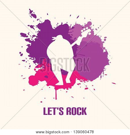 Silhouette musician bassist playing the bass guitar on bright background vector illustration