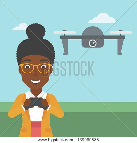 An african-american woman  flying drone with remote control. Happy woman operating a drone with remote control. Woman controling a drone. Vector flat design illustration. Square layout.