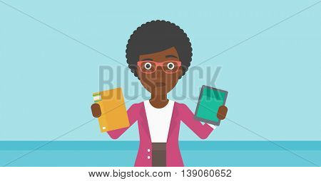An african-american woman choosing between tablet computer and paper book. Woman holding book in one hand and tablet computer in the other. Vector flat design illustration. Horizontal layout.