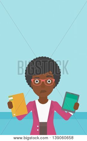 An african-american woman choosing between tablet computer and paper book. Woman holding book in one hand and tablet computer in the other. Vector flat design illustration. Vertical layout.