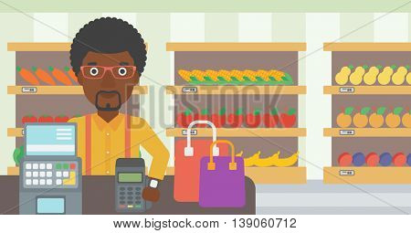 An african-american man paying wireless with his smart watch at the supermarket. Male customer making payment for purchase with smart watch. Vector flat design illustration. Horizontal layout.