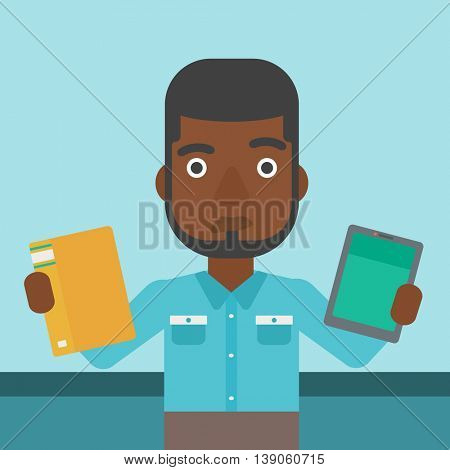An african-american man choosing between a tablet computer and a paper book. Man holding book in one hand and tablet computer in the other. Vector flat design illustration. Square layout.