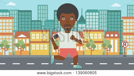 An african-american man running with earphones and armband for smartphone. Man listening to music during running. Man running on a city background. Vector flat design illustration. Horizontal layout.