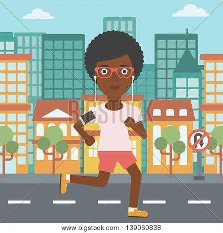 An african-american woman running with earphones and armband for smartphone. Woman listening to music during running. Woman running in the city. Vector flat design illustration. Square layout.