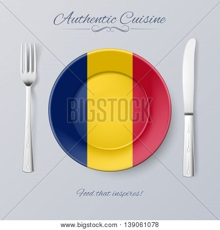 Authentic Cuisine of Chad. Plate with Chadian Flag and Cutlery