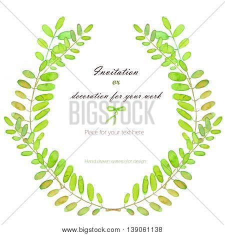 Wreath, circle frame with the acacia tree branches, hand drawn on a white background, background for your card and work