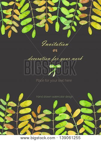 Background, template postcard with the acacia tree branches, hand drawn on a dark background, background for your card and work