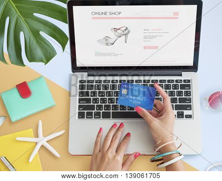 Online Purchase Summer Credit Card Hands Concept