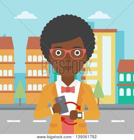An african-american woman  holding a smartphone looking at her smart watch. Synchronization between smartwatch and smartphone. Vector flat design illustration. Square layout.
