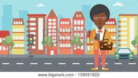 An african-american woman using a smartphone. Business woman with briefcase working with smartphone on a city background. Vector flat design illustration. Horizontal layout.