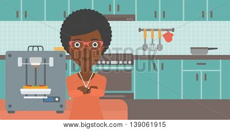 An african-american woman working with three D printer making pizza on the background of kitchen. Woman with crossed arms standing near 3D printer. Vector flat design illustration. Horizontal layout.