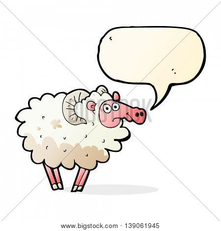 cartoon dirty sheep with speech bubble