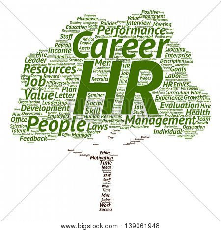 Vector concept conceptual hr or human resources management abstract tree word cloud isolated on background