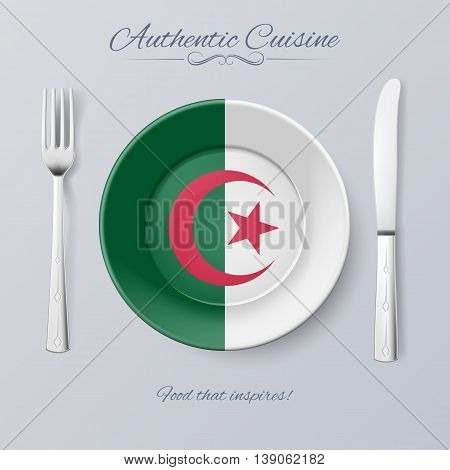 Authentic Cuisine of Algeria. Plate with Algerian Flag and Cutlery