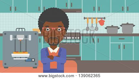 An african-american woman working with three D printer making pizza on background of kitchen. Man with crossed arms standing near 3D printer. Vector flat design illustration. Horizontal layout.