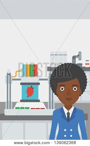An african-american woman with 3D printer making a heart on the background of laboratory. Woman working with 3D printer. Vector flat design illustration. Vertical layout.