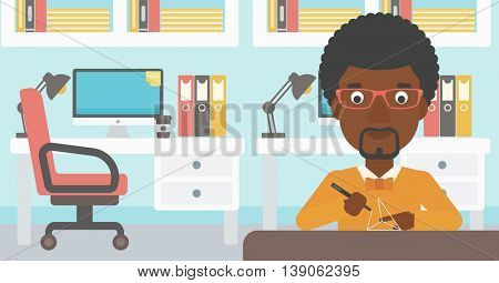An african-american man making a model with a 3D pen. Man drawing geometric shape by 3d pen. Man working with a 3d-pen. Vector flat design illustration. Horizontal layout.