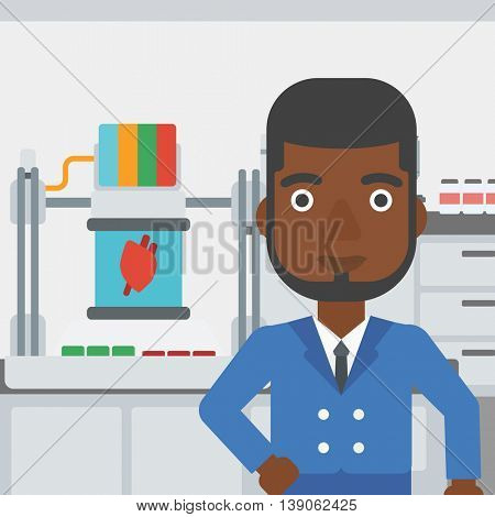 An african-american man standing near 3D printer making a heart on the background of laboratory. Man working with 3D printer. Vector flat design illustration. Square layout.