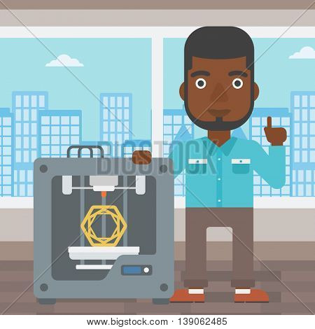 An african-american man standing near three D printer and pointing forefinger up. Engineer using 3D printer. Man working with 3D printer. Vector flat design illustration. Square layout.
