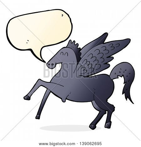 cartoon magic flying horse with speech bubble