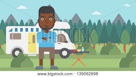 An african-american man standing in front of motor home. Young man with arms crossed enjoying vacation in camper van. Vector flat design illustration. Horizontal layout.