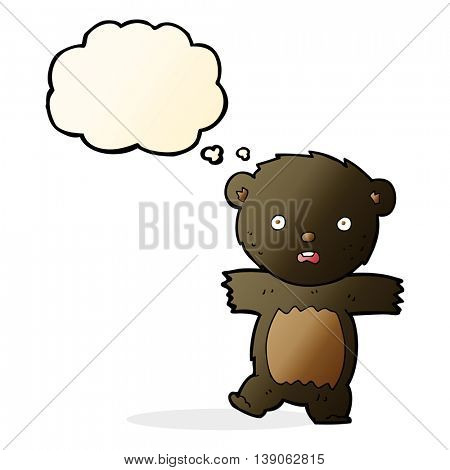 cartoon shocked black bear cub with speech bubble
