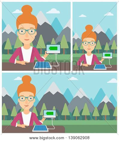 Woman charging tablet computer with solar panel on a background of mountains. Charging digital tablet from portable solar panel. Vector flat design illustration. Square, horizontal, vertical layouts.