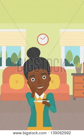 An african-american delighted woman looking at positive pregnancy test on the background of living room. Young woman checking pregnancy test. Vector flat design illustration. Vertical layout.