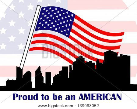 Conceptual illustration of patriotic American symbols with american flag Manhattan silhouette and