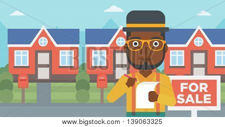 An african-american real estate agent signing contract. Real estate agent standing in front of the house with placard for sale. Vector flat design illustration. Horizontal layout.