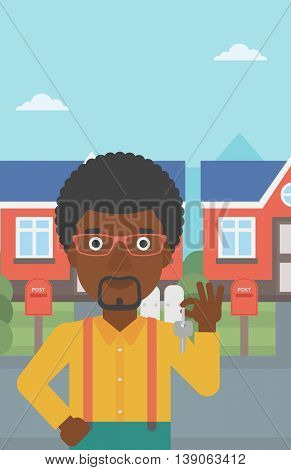 Young male real estate agent holding key. An african-american man with keys standing in front of the house. Happy new owner of a house. Vector flat design illustration. Vertical layout.