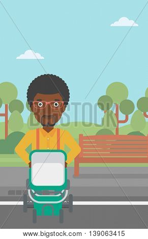 An african-american young father walking with baby stroller in the park. Father walking with his baby in stroller. Father pushing baby stroller. Vector flat design illustration. Vertical layout.