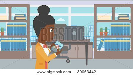 An african-american woman looking at house on a digital tablet screen. Young woman standing in office and looking for house on tablet computer. Vector flat design illustration. Horizontal layout.