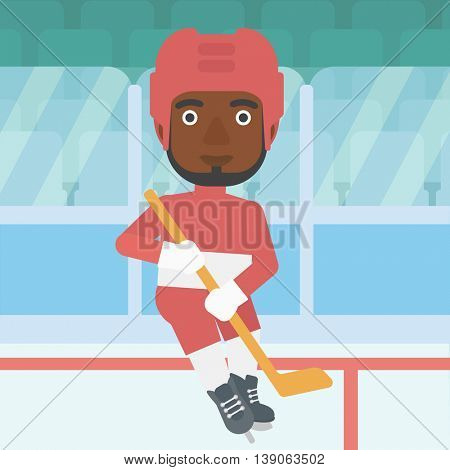 An african-american ice hockey player with the beard skating on ice rink. Ice hockey player with a stick. Sportsman playing ice hockey. Vector flat design illustration. Square layout.