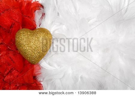Heart Over White And Red Feathers Background, Lot Of Copy-space