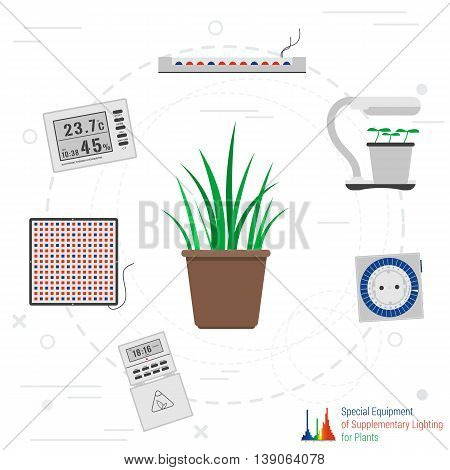 Vector concept special equipment for artificial phyto plants lighting in flat style. Thermometer, timer and LED lamps
