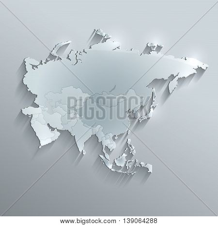 Asia political map glass card paper 3D raster individual states separate